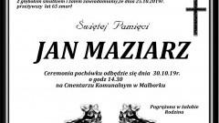 Zmarł Jan Maziarz. Żył 65 lat.