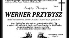 Zmarł Werner Przybysz. Żył 88 lat.