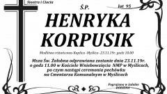 Zmarła Henryka Korpusik. Żyła 95 lat.