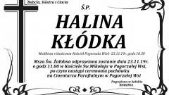 Zmarła Halina Kłódka. Żyła 73 lata.