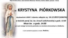 Zmarła Krystyna Piórkowska. Żyła 58 lat.