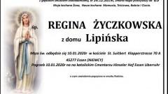 Zmarła Regina Życzkowska z domu Lipińska. Żyła 69 lat.