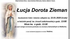 Zmarła Łucja Dorota Zieman. Żyła 66 lat.