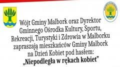 Przeżyj Dzień Kobiet w gminie Malbork z zespołem Riwiera. Szczegóły na plakacie.
