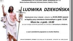 Zmarła Ludwika Dziekońska. Żyła 75 lat.