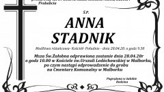 Zmarła Anna Stadnik. Żyła 89 lat.