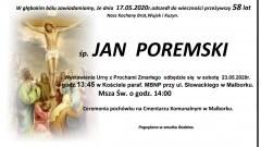 Zmarł Jan Poremski. Żył 58 lat.