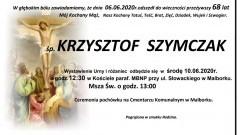 Zmarł Krzysztof Szymczak. Żył 68 lat.