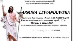 Zmarła Armina Lewandowska. Żyła 81 lat.