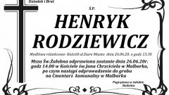 Zmarł Henryk Rodziewicz. Żył 82 lata.