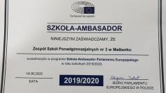 ZSP nr 3 z certyfikatem Szkoły – Ambasadora Parlamentu Europejskiego.
