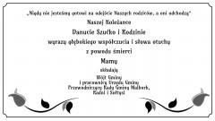 Wójt Gminy i pracownicy Urzędu Gminy Malbork, Przewodniczący Rady Gminy Malbork, Radni i Sołtysi składają kondolencje.