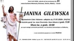 Zmarła Janina Gilewska. Żyła 81 lat.