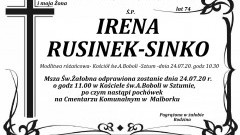 Zmarła Irena Rusinek - Sinko. Żyła 74 lata.