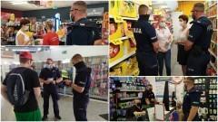 Klienci sklepów pod czujnym okiem policjantów i sanepidu.