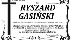 Zmarł Ryszard Gasiński. Żył 72 lata.