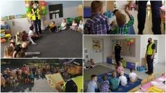 """Wrześniowa akcja """"Nowodworska Policja czyta dzieciom""""."""