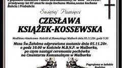 Zmarła Czesława Książek - Kossewska. Żyła 83 lata.