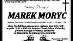 Zmarł Marek Moryc. Żył 63 lata.
