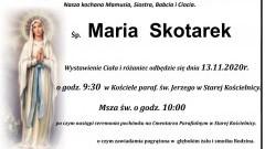 Zmarła Maria Skotarek. Żyła 68 lat.