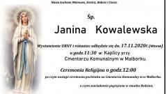 Zmarła Janina Kowalewska. Żyła 71 lat.