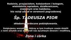 Podziękowanie za udział w ceremonii pogrzebowej śp. Tadeusza Pior od rodziny.