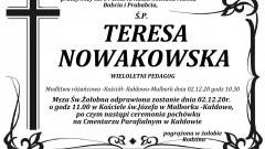 Zmarła Teresa Nowakowska. Żyła 84 lata.
