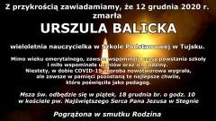 Zmarła Urszula Balicka, wieloletnia nauczycielka w Szkole Podstawowej w Tujsku.