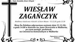 Zmarł Wiesław Zagańczyk. Żył 70 lat.