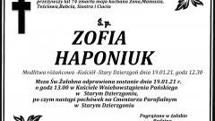 Zmarła Zofia Haponiuk. Żyła 74 lata.