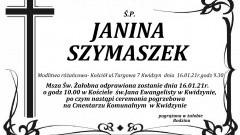 Zmarła Janina Szymaszek.