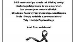 Kondolencje dla rodziny zmarłego Macieja Popławskiego.