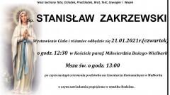 Zmarł Stanisław Zakrzewski. Żył 83 lata.