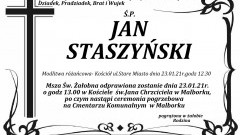 Zmarł Jan Staszyński. Żył 87 lat.