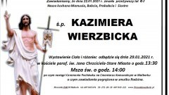 Zmarła Kazimiera Wierzbicka. Żyła 87 lat.