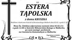 Zmarła Estera Tąpolska z domu Kruszka.