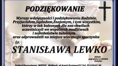 Podziękowanie za udział w ceremonii pogrzebowej śp. Stanisława Lewko.
