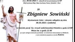 Zmarł Zbigniew Sowiński. Żył 67 lat.
