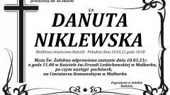 Zmarła Danuta Niklewska. Żyła 66 lat.