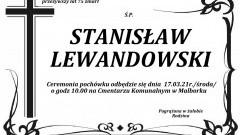 Zmarł Stanisław Lewandowski. Żył 75 lat.