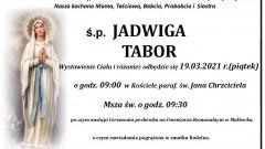Zmarła Jadwiga Tabor. Żyła 80 lat.