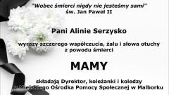 Kondolencje Dyrektora i pracowników Miejskiego Ośrodka Pomocy Społecznej w Malborku.