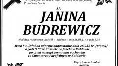 Zmarła Janina Budrewicz. Żyła 85 lat.