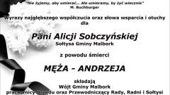 Kondolencje Wójta Gminy Malbork, pracowników Urzędu Gminy oraz Przewodniczącego Rady, Radnych i Sołtysów.