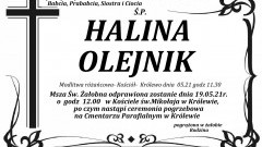 Zmarła Halina Olejnik. Żyła 89 lat.