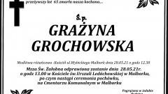 Zmarła Grażyna Grochowska. Żyła 65 lat.