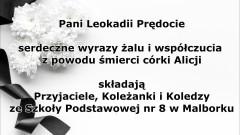 Kondolencje przyjaciół i pracowników Szkoły Podstawowej nr 8 w Malborku.