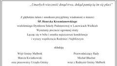 Kondolencje Wójta Gminy Malbork, pracowników Urzędu Gminy, Przewodniczącego Rady oraz Radnych Gminy Malbork