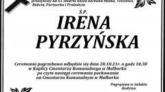 Zmarła Irena Pyrzyńska. Żyła 61 lat.