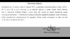 WYKAZ NIERUCHOMOŚCI NA SPRZEDAŻ W GMINIE MALBORK - 13.05.2015